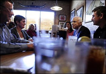 Sen. John McCain meets with local business leaders at Buckingham Smokehouse Bar-B-Q in Columbia, Mo.